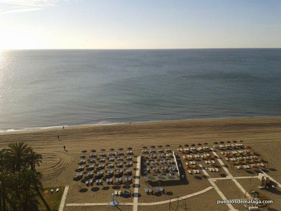 Zona de hamacas en la Playa de Torremolinos