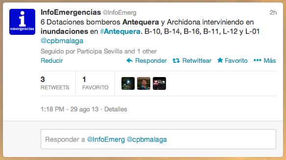 Bomberos acuden a las inundaciones de Antequera