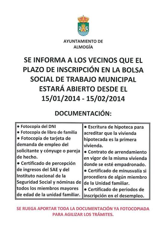Bolsa social de trabajo del Ayuntamiento de Almogía