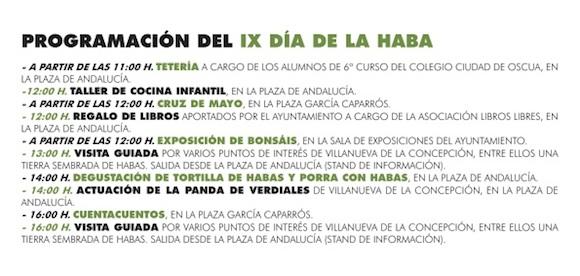 Programa del Día de la Haba 2014 en Villanueva de la Concepción