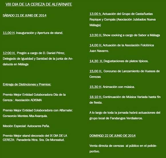 Programa del día de la Cereza de Alfarnate