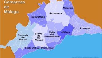 Lista de Pueblos en las Comarcas de la Provincia de Málaga