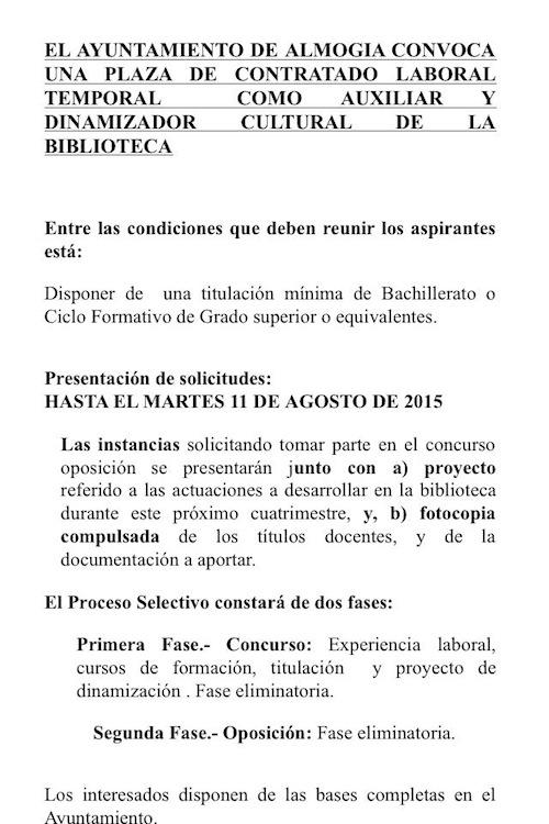 Oferta de trabajo en Almogía