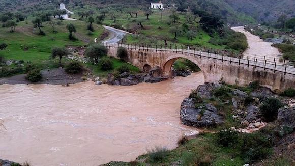 Puente romano de Almogía tras las lluvias del 23 de Enero de 2020