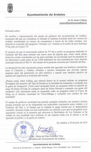 Carta de la Alcaldesa de Ardales a  Jesús Calleja