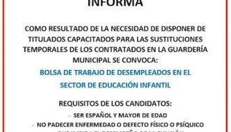 Bolsa de trabajo de educación infantil en Almogía