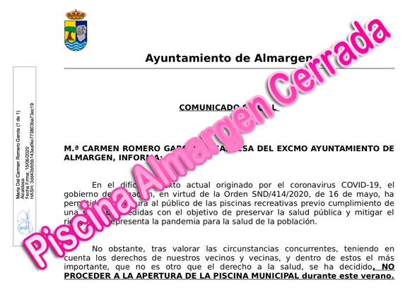 La Piscina de Almargen permanecerá cerrada el verano de 2020 para evitar contagios de Coronavirus