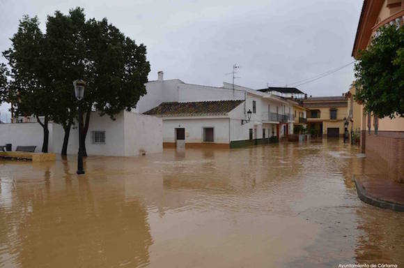 Casas inundadas en Cártama