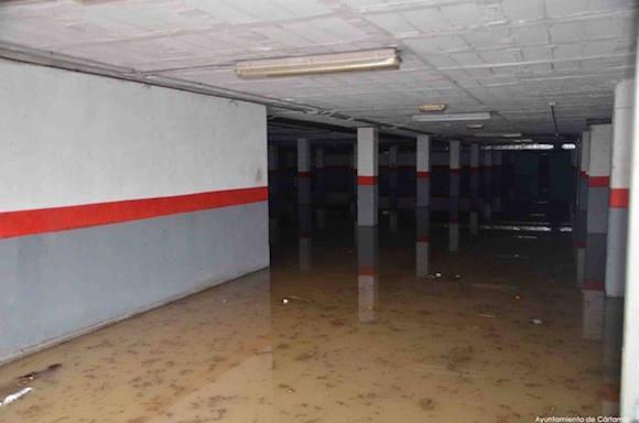 Garaje inundado en Estación de Cártama