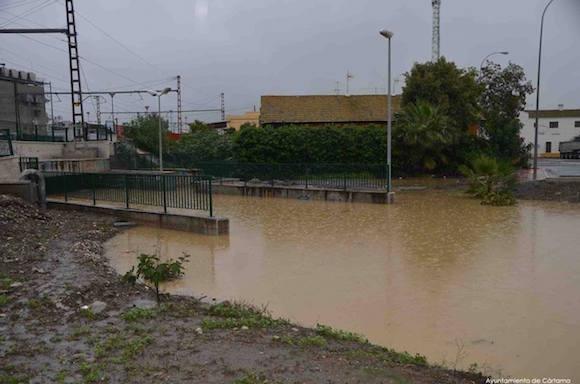 Inundaciones en Estación de Cártama el 4 de Diciembre de 2016