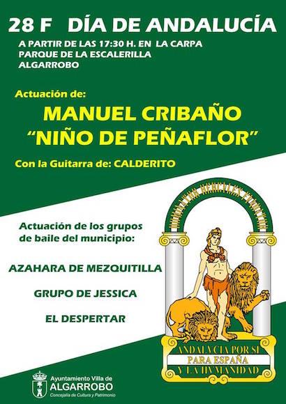 28 de Febrero: Día de Andalucía24/02/2017 A partir de las 17:30 horas, en la carpa del parque de la escalerilla de Algarrobo, ¡Te esperamos!