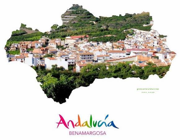 Mapa de Andalucía con el pueblo malagueño de Benamargosa