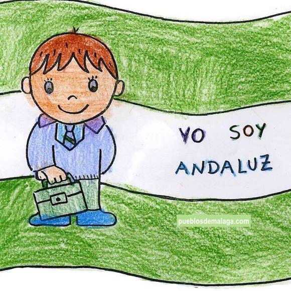 Yo soy andaluz, dibujo de la bandera de Andalucia del Pueblo de Sierra de Yeguas