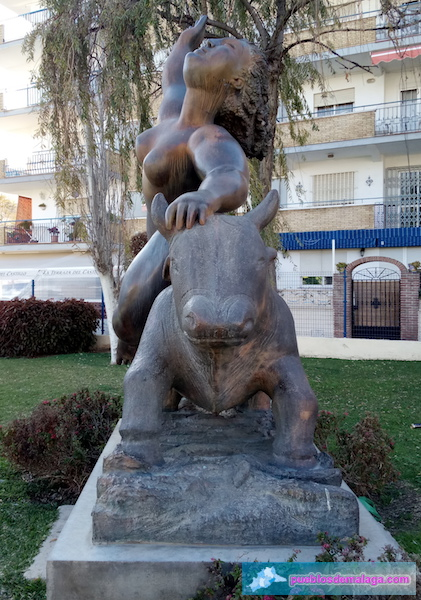 "The sculpture ""El Rapto de Europa"" is located in the gardens surrounding Fort Bezmiliana in Rincon de la Victoria."
